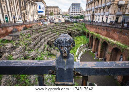 Roman Amphitheatre on Stesicoro Square in Catania Sicily Italy