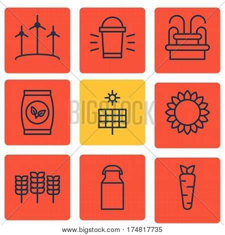 Set Of 9 Farm Icons. Includes Grains, Water Monument, Helianthus And Other Symbols. Beautiful Design Elements.