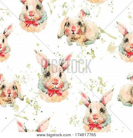 Watercolor seamless pattern with white rabbit, red bow. Animal bunny watercolor illustration. Easter spring hand painted art work on white background