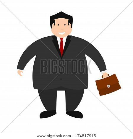 Vector illustration of a young successful businessman on a white background. Isolate. The figure of a man with a full portfolio. Stock vector