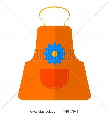 Vector illustration of colored kitchen apron with a pocket in Flete style. Kitchen equipment item. Stock vector