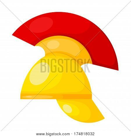 Vector illustration of the ancient Greek bronze helmet with a red crest on white background. Vintage design object for the historic site. Stock vector