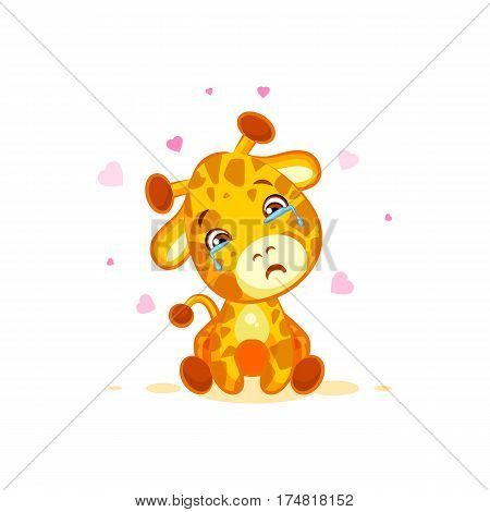 Vector Stock Illustration isolated Emoji crying tears character cartoon Giraffe miss you sad frustrated sticker emoticon for site, info graphics, video, animation, websites, e-mail, newsletter, report