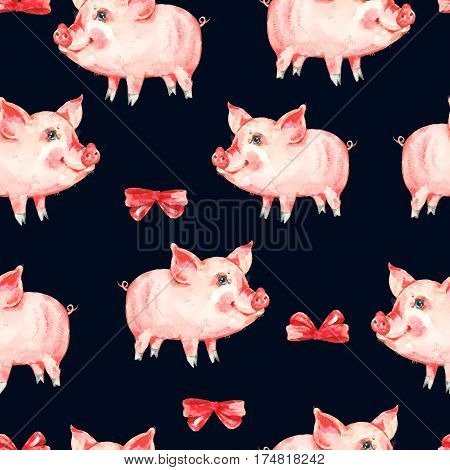Watercolor seamless pattern with cute piggy, red bow. Animal pig watercolor illustration. Hand painted art work on black background