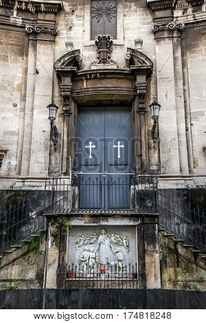 Door of Saint Therese of Child Jesus church in Catania Sicily Italy