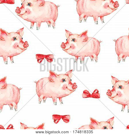 Watercolor seamless pattern with cute piggy, red bow. Animal pig watercolor illustration. Hand painted art work on white background