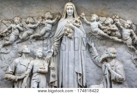 Sculpture of Saint Therese of Child Jesus church in Catania Sicily Italy