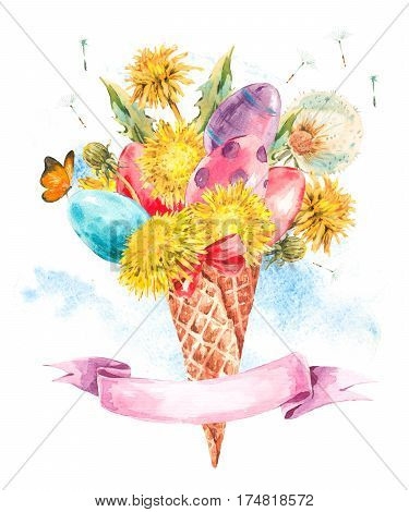 Watercolor colorful Easter eggs and the dandelions in the waffle cone, natural illustration isolated on white background.