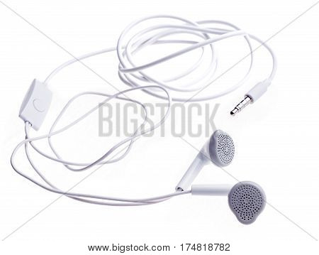 earphones and microphone for mobile phone. Mobile Hands Free isolated on white