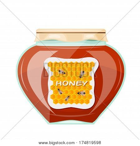 Vector illustration jars of honey on a white background. Isolate. Glass jar with a dark honey paper cover and label. Stock vector illustration