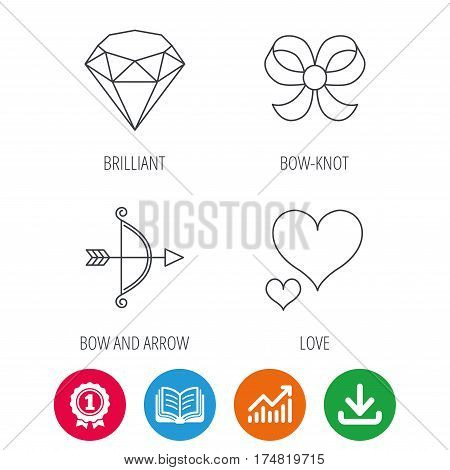 Love heart, brilliant and bow-knot icons. Bow and arrow linear signs. Award medal, growth chart and opened book web icons. Download arrow. Vector