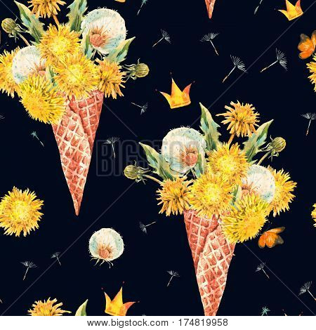Watercolor natural floral seamless pattern of a dandelion bunch in the waffle cone, vintage illustration on black background.