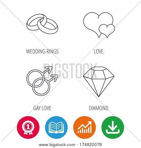 Love heart, diamond and wedding rings icons. Gay love linear sign. Award medal, growth chart and opened book web icons. Download arrow. Vector