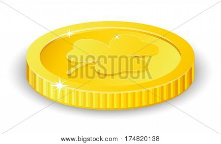 Vector golden coin with clover sign, St. Patrick's day