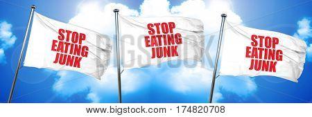 stop eating junk, 3D rendering, triple flags
