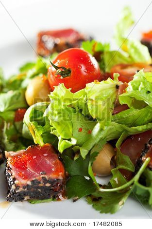 Thai Dishes - Salad with Sliced Tuna in Sesame, Cherry Tomato and Olives