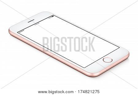Pink mobile smartphone mock-up counterclockwise rotated lies on the surface with blank screen isolated on white background. You can use this smartphone mock-up for your web project or design presentation.