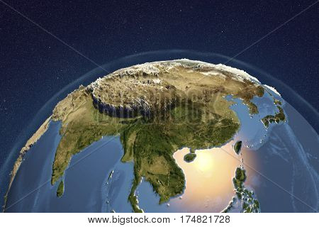 Planet Earth from space showing Asia with enhanced bump, 3D illustration, Elements of this image furnished by NASA