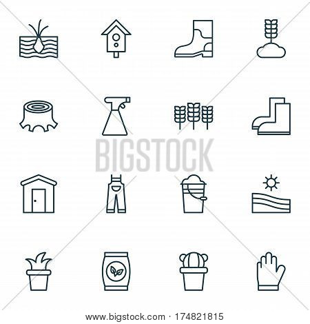 Set Of 16 Planting Icons. Includes Tree Stub, Bucket, Cereal And Other Symbols. Beautiful Design Elements.