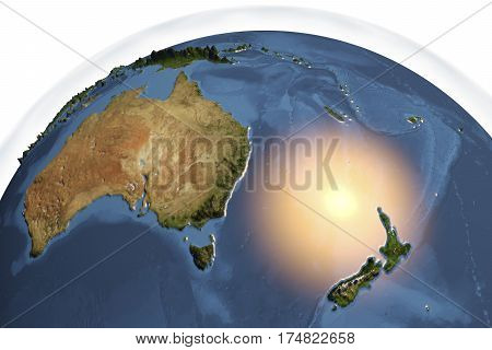 Planet Earth from space showing Australia and New Zealand with enhanced bump isolated on white background, 3D illustration, Elements of this image furnished by NASA