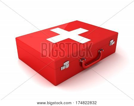 3D render First aid, red suitcase ambulance