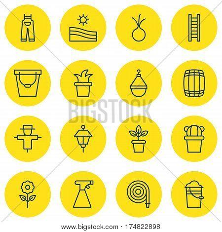 Set Of 16 Planting Icons. Includes Lantern, Bush Pot, Pail And Other Symbols. Beautiful Design Elements.