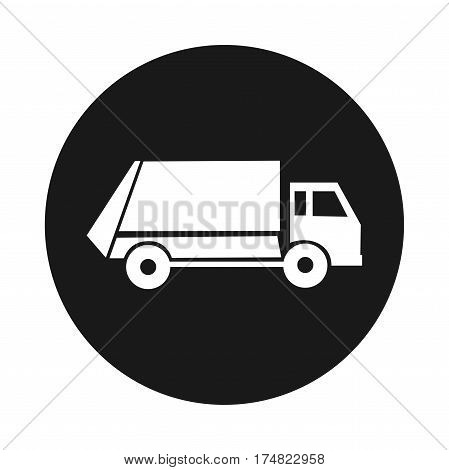 municipal garbage service icon. Truck. On white