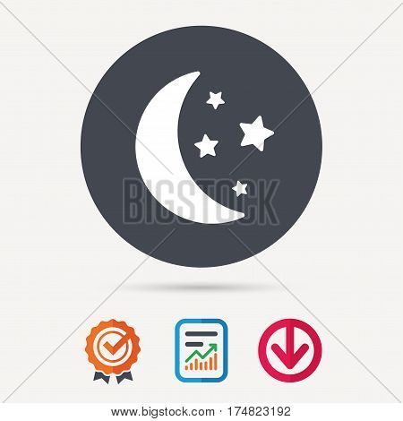 Moon and stars icon. Night sleep symbol. Report document, award medal with tick and new tag signs. Colored flat web icons. Vector