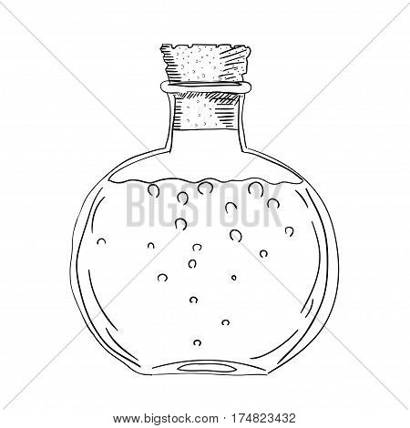 Sketch drawing of the bottle with a cork. Isolated object on a white background. A bottle with a potion. Stock vector illustration