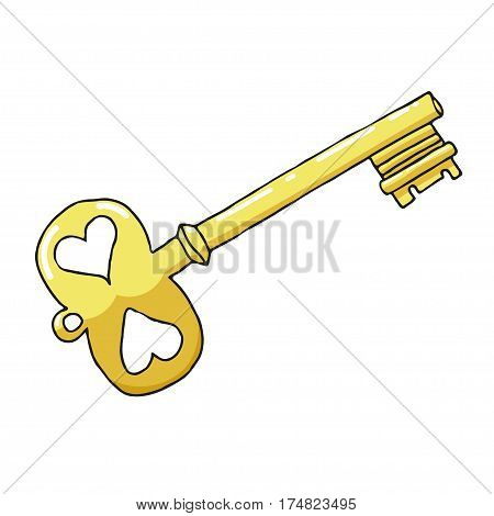 Sketch drawing a gold key on a white background. Symbol of love and feelings. Stock vector illustration