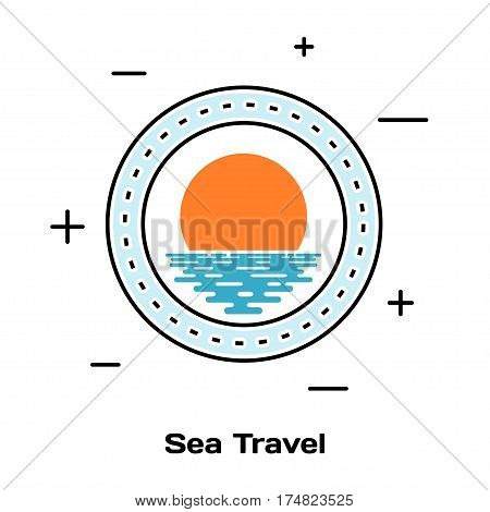 Porthole ship and sunset on the water. Schematic illuminator. Line style art. Stock vector illustration