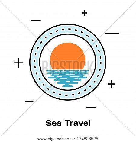 Porthole ship and sunset on the water. Schematic illuminator. Line style art. Stock vector illustration