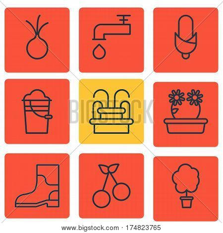 Set Of 9 Farm Icons. Includes Rubber Boot, Water Monument, Floweret And Other Symbols. Beautiful Design Elements.