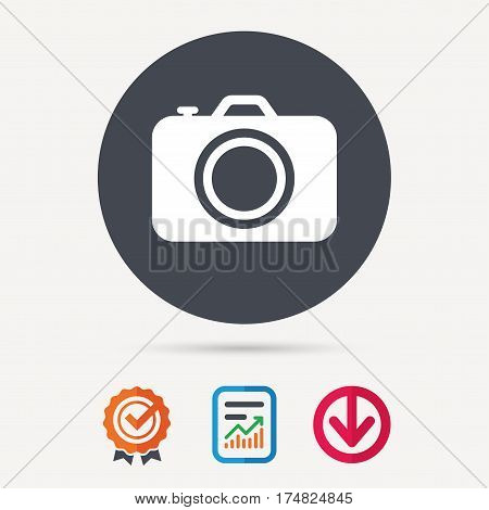 Camera icon. Professional photocamera symbol. Report document, award medal with tick and new tag signs. Colored flat web icons. Vector