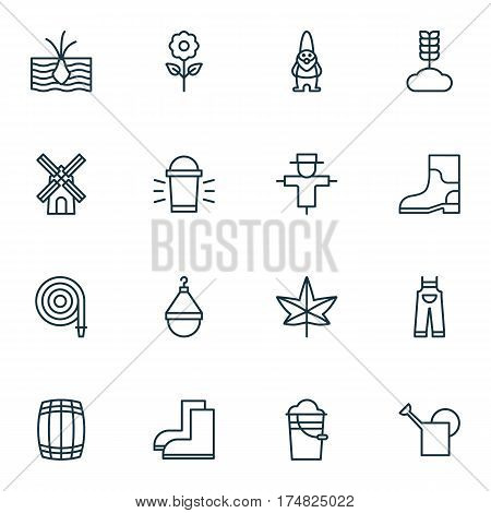 Set Of 16 Plant Icons. Includes Dwarf, Growing Plant, Fire Tube And Other Symbols. Beautiful Design Elements.