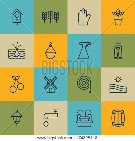 Set Of 16 Garden Icons. Includes Lantern, Birdhouse, Growing Plant And Other Symbols. Beautiful Design Elements.