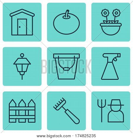 Set Of 9 Planting Icons. Includes Rake, Barrier, Radish And Other Symbols. Beautiful Design Elements.