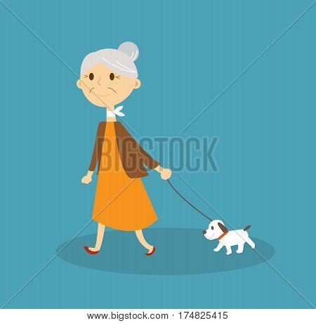 Old woman with dog. Senior lady with dog. Vector stock.