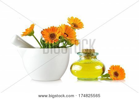 Marigold oil and flowers in a mortar isolated on white