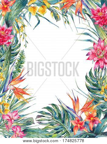Watercolor colorful flowers and leaves making a floral frame illustration isolated on white background.