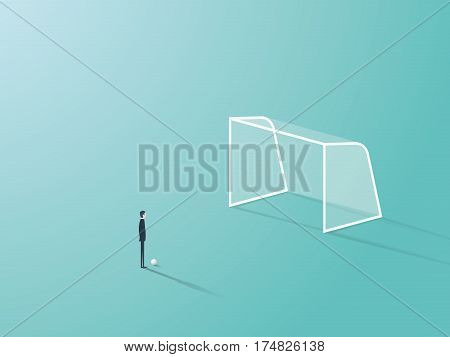 Businessman standing in front of soccer or football goal empty net with ball waiting to shoot or kick it. Eps10 vector illustration.