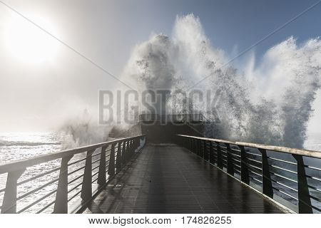 Backwash on the great jetty of la Chaume (Les Sables d'Olonne, France)