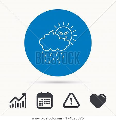 Rain and sun icon. Water drops and cloud sign. Rainy overcast day symbol. Calendar, attention sign and growth chart. Button with web icon. Vector