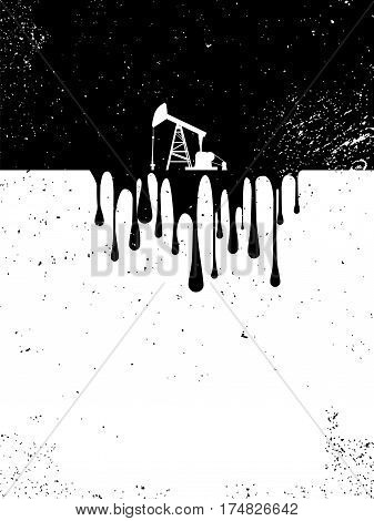 Oil drilling pump with drops of oil as a symbol of environment and nature pollution in disaster. Dirty gas industrial ecology concept. Eps10 vector illustration.