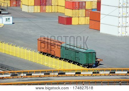 Cargo Container And Train In Port