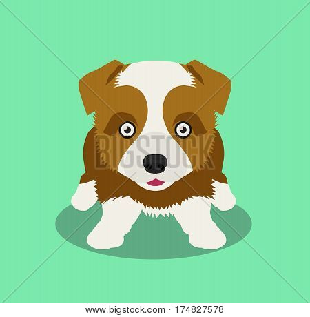 Cartoon dog sitting. Cute dog flat cartoon vector stock.