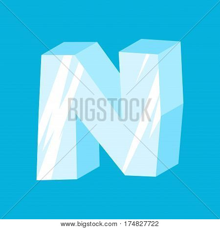 Letter N Ice Font. Icicles Alphabet. Freeze Lettering. Iceberg Abc Sign