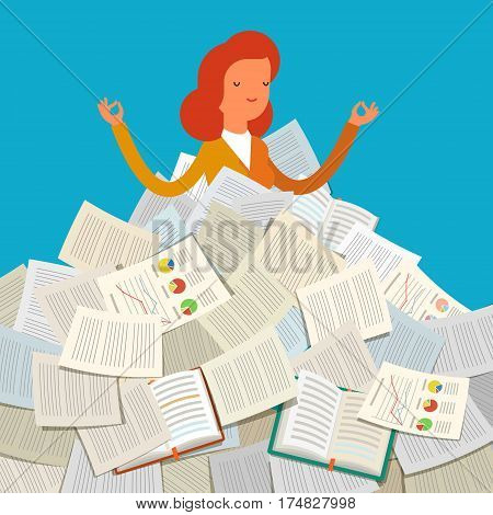 Concept of workload. Student buried under a pile of books, textbooks and papers. Flat design, vector illustration.