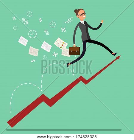 Business Growth Concept. Business Woman run on a Business Growth Chart