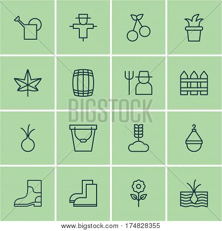 Set Of 16 Garden Icons. Includes Bush Pot, Bailer, Barrier And Other Symbols. Beautiful Design Elements.